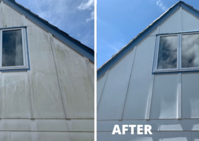 A before and after photo of a house with an A frame roof that has had an exterior clean