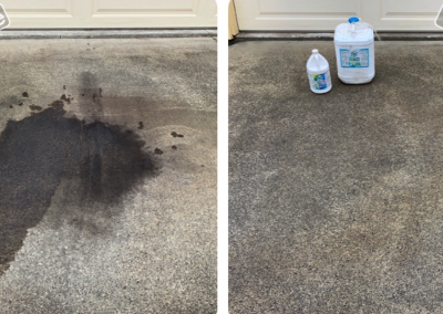 Before and after photo of an oil stain being removed from a concrete driveway