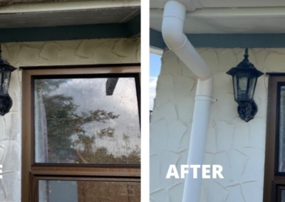 Photo showing the before and after results of a residential property clean