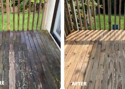Before and after photo of a deck that has been cleaned and rejuvenated
