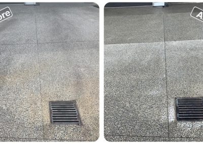 Before and after photo of a cobblestone driveway that has been cleaned