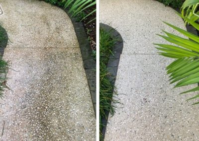 A cobblestone pathway that has been cleaned, showing the before and after