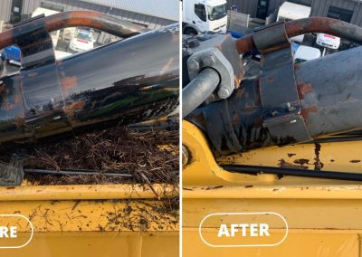 Before and after shot of an industrial machine that has been cleaned of debris