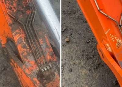 A before and after photo of construction machinery that has been cleaned