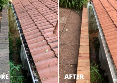 Before and after photo of a gutter that has been cleared of leaves and debris