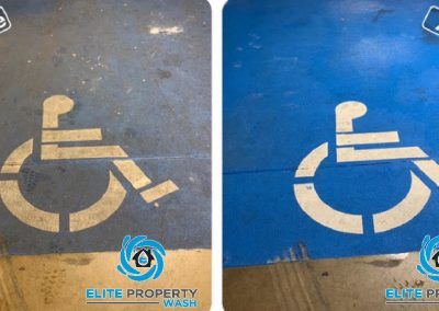 Before and after photo of a handicap parking space that has been brought back to its original colour