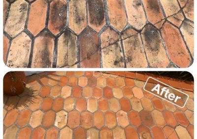 Before and after photo of a brick patio that has been effectively cleaned