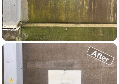 Before and after photo of a concrete wall that has had moss removed from it