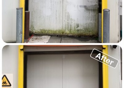 Before and after of an industrial door that has been cleaned of mould