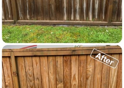 Before and after photo of a wooden fence that has been cleaned